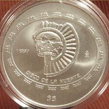 MEXICAN 1 OZ SILVER SKULL COIN  1997 Mexico 5 Pesos .999  DISCO DE LA MUERTE $5