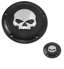 Harley Black Willie G Skull Derby And Timer Covers Street Glide FLHX Fatboy