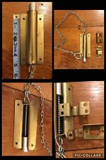 Barrel Bolt Lock Brass Tone Slide Latch Barn Industrial w/ LONG CHAIN Vintage