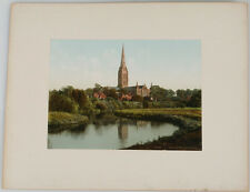 MOUNTED PHOTOCHROM IMAGE OF SALSBURG CATHEDRAL.