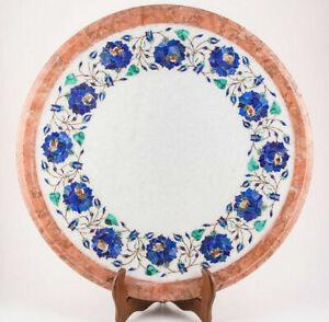 "18"" Marble Corner End Table Top Semi Precious Stones inlay Art Handmade work"