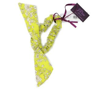 Liberty of London J.Crew Women's NWT Chartreuse Floral Scrunchie Bow Hair Tie