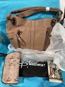 B Makowsky Cappuccino New Leather Handbag W Storage Bag & Small Zip Satchel