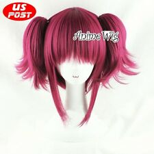 2Wine Red Short Black Butler Mey Rin Maylene Anime Cosplay Wig + 2 Ponytails