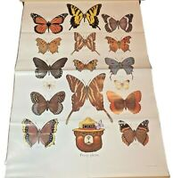 Vintage 1987 Smokey Bear butterflies educational poster 20x30 Pretty please