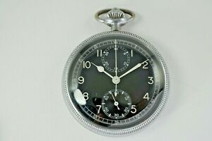 BREITLING MILITARY VINTAGE POCKET WATCH CHRONOGRAPH OPEN FACE LATE 1950's