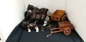 Small collection of 3 x Shire Horses Melbaware & 2 x Wooden carts