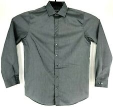 2de95731a4 KENNETH COLE Mens 16 34/35 SLIM FIT Solid Gray Long Sleeve Button Dress  Shirt