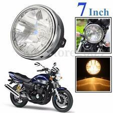 7'' Black Motorcycle Headlight Amber Universal For Honda Yamaha Suzuki Kawasaki