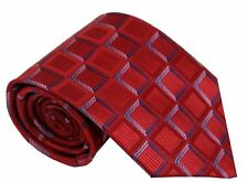 GIFTS FOR MEN Classic Mens Box Check Geometric Checked Silk Necktie Tie Red Blue