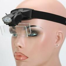 2 LED Light 5 Lens Magnification Headset Headband Magnifier Magnifying Glass