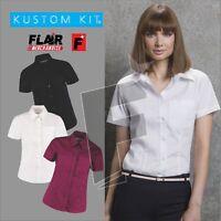 Kustom Kit Ladies' Short Sleeve Corporate Pocket Oxford Shirt