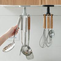 6 Hooks Kitchen Storage Rack Rotating Cooking Utensils Spoon Pan Pot Organizer