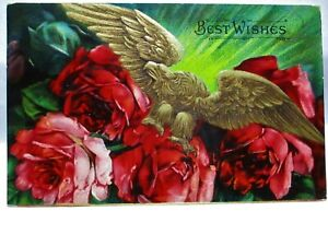 1909 POSTCARD BEST WISHES, GOLDEN EAGLE WITH COLORFUL RED ROSES