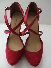 NEW LOOK LADIES RED FAUX SUEDE/SATIN PLATFORM SHOES STILETTO HEELS SIZE 5/38 NEW