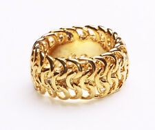 GLIMMERING GOLD METAL RING WITH CLEVER KNIT EFFECT DESIGN FOR DAY OR NIGHT(ZX46)
