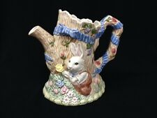 Retired Fitz and Floyd Hollow  Bunny Rabbit Pitcher 1 1/2 Qt.  Nice!