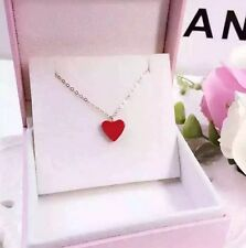 "Red Heart Love Pendant Necklace  Sterling Silver 17"" Chain Gift Box I12"