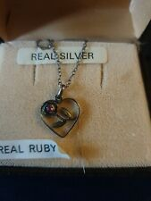 Silver Necklace Ruby Flower Pendant