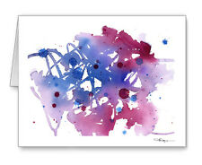Abstract Purple Note Cards With Envelopes