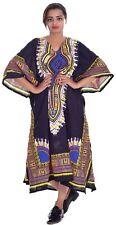 Indian 100% Cotton Women's Dakshini Print Casual Long Kaftan Black Color Dress