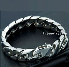 """15mm Mens Jewelry Silver Tone Stainless Steel Curb Cuban Chain Bracelet 8.66"""""""