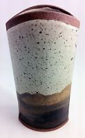 REED Art Pottery Boat Shaped Vase, Abstract Desert Scene Earth Tones Mid Century