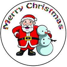 "Christmas Cake Topper Santa & Snowman - Precut Round 8"" (20cm) Icing Decoration"