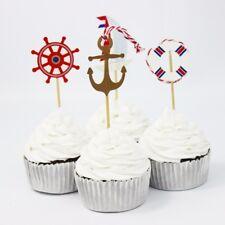 12 Sea Ship Rudder Anchor Cupcake Topper Food Picks  Decor  Birthday Party