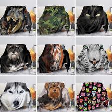 Animal Blanket Soft Coral Fleece Bed Sofa Reading TV Nap Blankets Lightweight