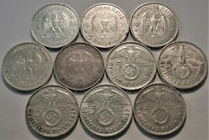 Lot (10) Germany Silver 5 Reichs Marks, High Grade 1934 1935 1936 1937 38 German