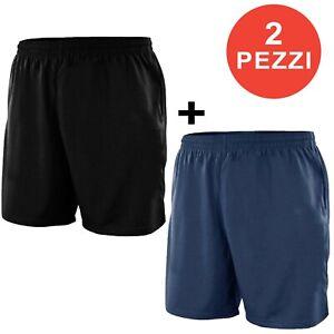 2 Pezzi Shorts Uomo Bermuda Sportivo Pantaloncino Tuta Fitness 8264
