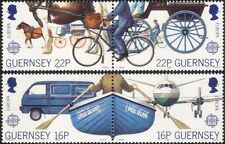 Guernsey 1988 EUROPA/Piano/Cavallo/Ciclismo/Moto/Furgone/Barca/trasporto Set 4v (n26170)