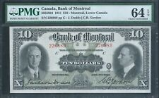 CANADA, Bank of Montreal $10 1931 5055804 PMG 64 EPQ Choice Unc