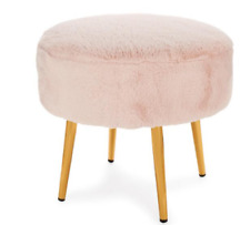 Stool Round Bunny Pink or white  Faux Sheepskin Sitting Lush fur New