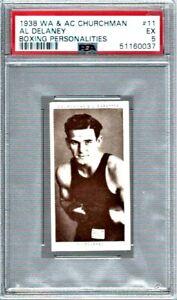AL DELANEY # 11 1938 WA & AC CHURCHMAN BOXINGCARD- PSA EXCELLENT 5