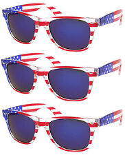 3 PAIRS BLUE LENS American USA US Flag Sunglasses Patriotic United LOT