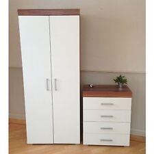2 Door Wardrobe & 4 Drawer Chest in White & Walnut Bedroom Furniture Set * NEW *