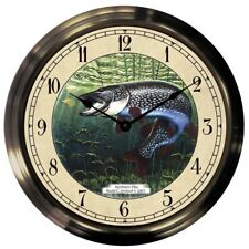"Trintec 14"" Northern Pike Antique Brass Fishing Clock AB14-04-NP"