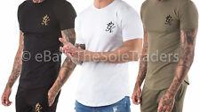 Men's Gym King GK Longline Fitted Crew Neck T Shirt Black Olive White