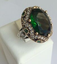 TURKISH HANDMADE EMERALD TOPAZ STERLING SILVER 925K RING SIZE 8,5 #YT1