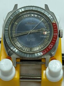 VINTAGE 1970's Bulova Oceanographer Snorkel Men's 38mm Steel 666ft Auto watch