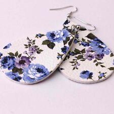 Bohemian Spring Printed Rose Floral Leather Teardrop Earrings 6 Styles Pretty