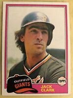 1981 Topps Jack Clark Baseball Card #30 Giants Mid-Grade