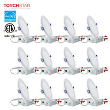 12PCS Ultra-thin 6-inch Dimmable Recessed Ceiling Downlight Fixture, Wafer Light