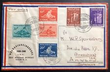1939 Batavia Netherlands Indies Airmail Social Bureau Stamps cover To Belgium