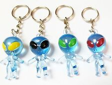 12 pcs Blue Alien Key Chain Toys Boys Kids Birthday Party Favors Cup Cake Topper