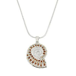 """Trumpet Shell Charm Pendant Necklace - Sparkling Crystal - 17"""" Chain - 4 Colors"""