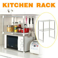 2-Tiers Adjustable Stainless Steel Microwave Oven Shelf Kitchen Detachable