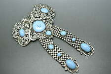 Vintage French 50s turquoise blue cabochon glasses filigree Bow Large Brooch